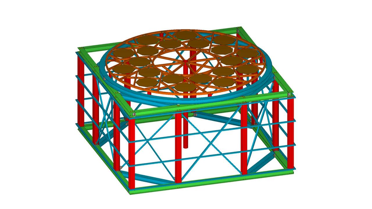 Charpente support de méduse de réacteur
