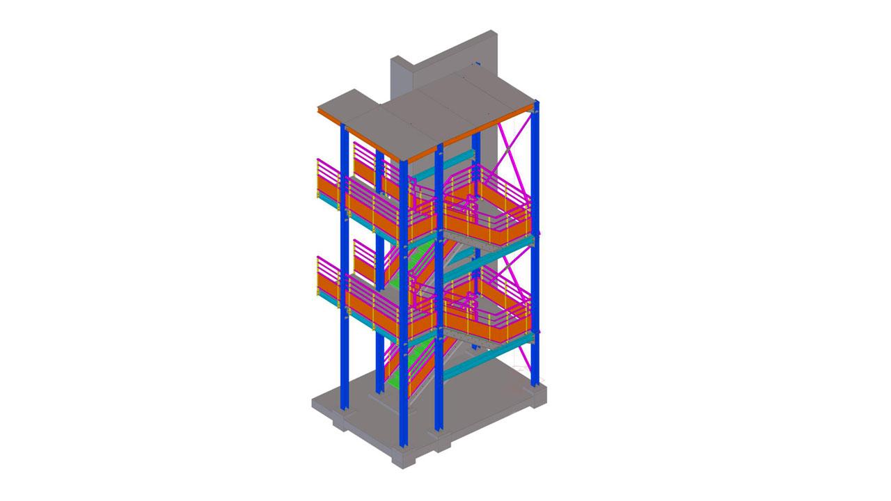 Cage d'escalier avec toiture les terrasses du fort